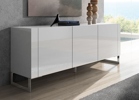 Tres Sideboard a sleek modern sideboard with plain handle-less doors, contemporary chromed legs, & a single shelf inside.