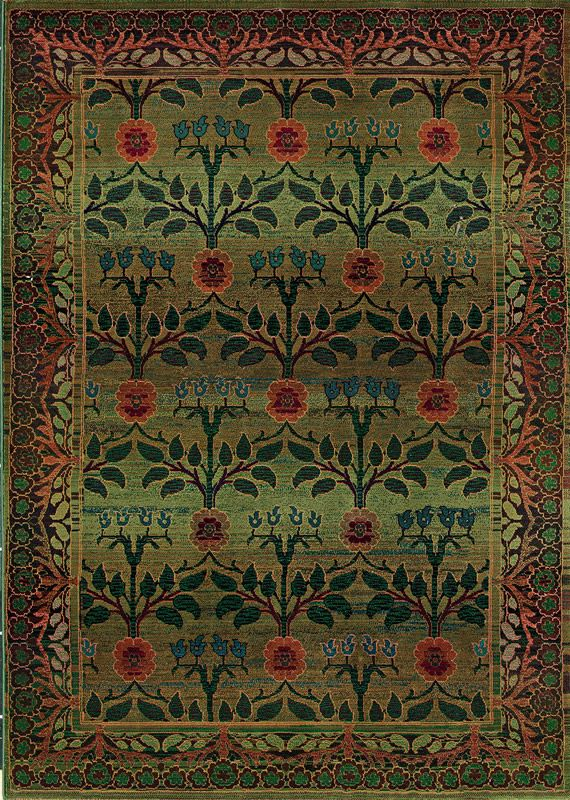 Kharma Green And Red Fl Area Rug Border Sphinx By Oriental Weavers Rugs