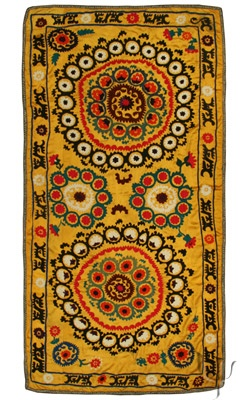 I love the colors: Yellow, B+W, and red. Love it! (Uzbek Suzani)