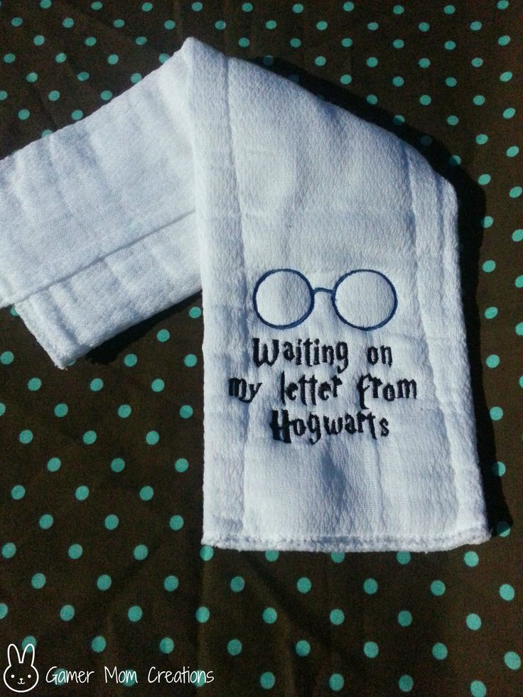"Harry Potter ""Waiting on my letter to hogwarts"" burp cloth. $6.20, via Etsy."