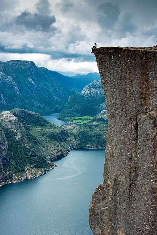Norway:The Pulpit Rock (Preikestolen), the most famous tourist attraction in Ryfylke, towers an impressive 604 metres over the Lysefjord in Norway