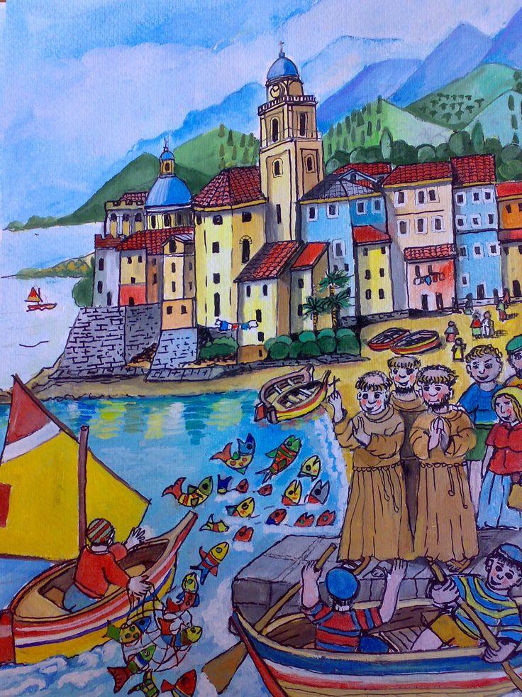 Il popolo di Rimini accorre e vede che perfino i pesci, con la testa a pelo d'acqua, ascoltano i sermoni di Antonio