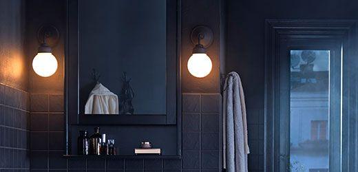 IKEA Badleuchten wie z. B. SÄVERN Doppelwandleuchte, vernickelt