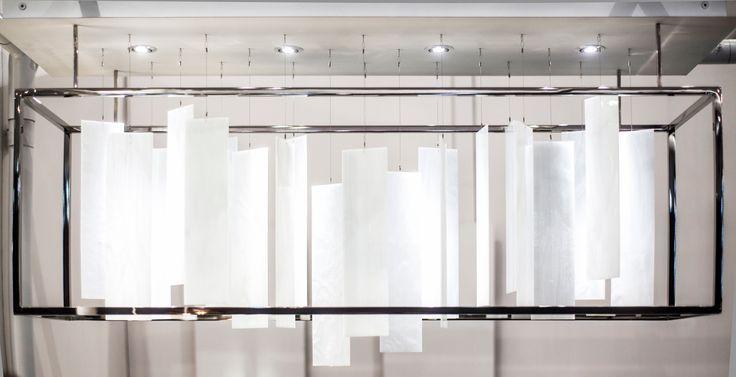 MOVIMENTO Rectangle Chandelier | Polished Nickel #ICFF15 #ridgelystudioworks #lighting #handmade #chandeliers