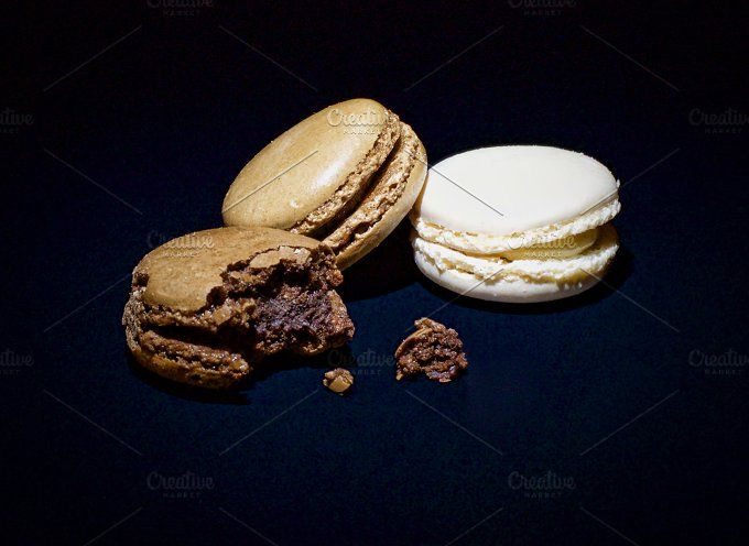 macaroons on a black background by Verlena's Corner on @creativemarket