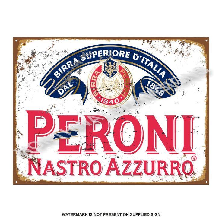 Cartello Di Metallo Pubblicità Retrò Birra Peroni Vintage Garage Pub Cucina
