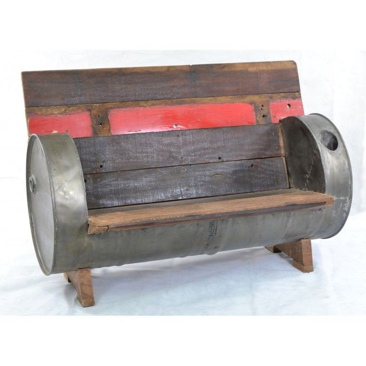 Vintage Industrial RETRO Oil Drum sofa bench