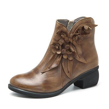 SOCOFY Sooo Comfy Vintage Handmade Rose Ankle Leather Boots is hot-sale.  Come to NewChic to buy womens boots online Mobile.