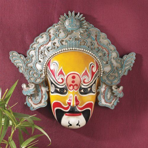"""13.5"""" Classic Chinese Asian Peking Opera Mask Wall Sculpture Art Deco by XoticBrands. $57.54. Cast in quality designer resin. A Han Dynasty warrior and bodyguard known for his enormous strength, is masterfully hand-rendered in this mystical Asian wall mask. Based on an historic Chinese original, its intricate hand-painting and detailed artistry cast in quality designer resin make it instantly gallery-worthy.14½""""Wx3½""""Dx13½""""H. 3 lbs."""