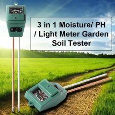 PH Moisture Meter เครื่องวัดความชื้น ค่า PH และ ความสว่าง 3 in 1 Soil PH Meter (สีเขียว)