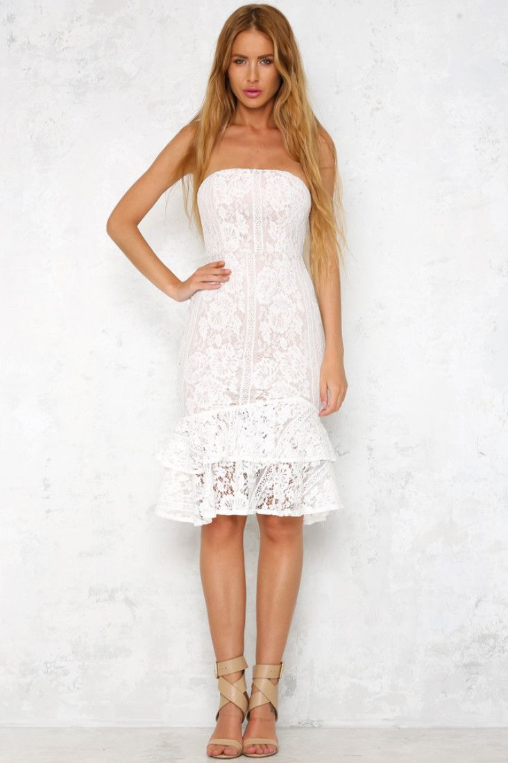 The stunning Mermaid Forever Midi Dress is strapless and a bodycon fit, with gorgeous lace detailing, a padded bust and a fishtail skirt. The invisible back zip makes for easy wear! Style with strappy nude heels and silver jewellery!   White dress. Lined. Cold hand wash only. Model is standard XS and is wearing XS. True to size. Print may vary in placement.  Non-stretchy fabric. Polyester.