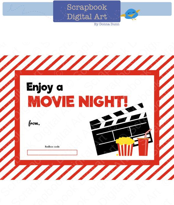 Printable Redbox Gift Card Tag, Printable Card, Movie Night Redbox coupon. by ScrapbookDigitalArt on Etsy