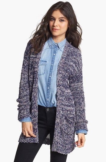 Rubbish® Textured Marled Cardigan (Juniors) in Black and Barnyard Marl Cream- Egret available at #Nordstrom