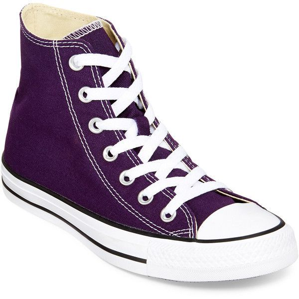 Converse Chuck Taylor All Star High-Top Sneakers ($60) ❤ liked on Polyvore featuring shoes, sneakers, converse shoes, lace up high top sneakers, lace up shoes, star shoes and sports shoes
