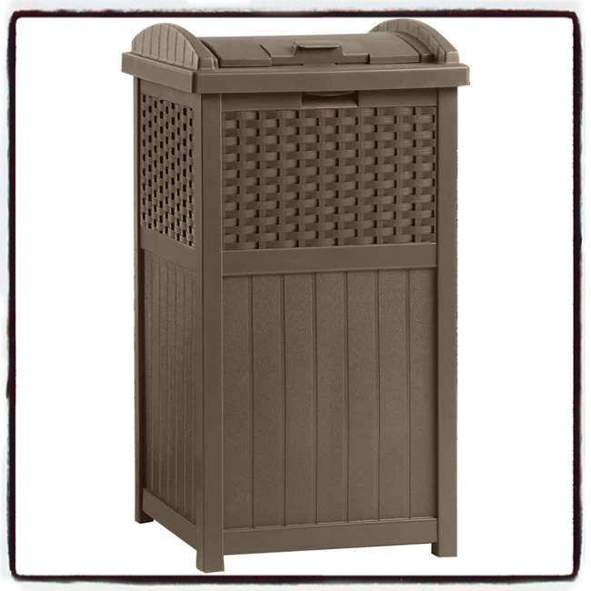 Wicker Trash Can Resin Home Outdoor Patio Garden Decor Garbage Waste Bin Deck US #WickerTrashCan