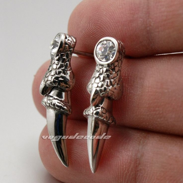 316L Stainless Steel Dragon Claw CZ Mens Stud earrings 2R064(2 Pieces)