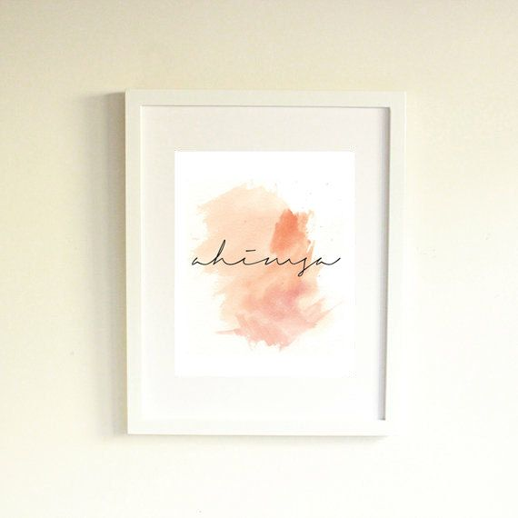 Ahimsa Print With Pink Watercolor Background by coldcupoftea, $5.00