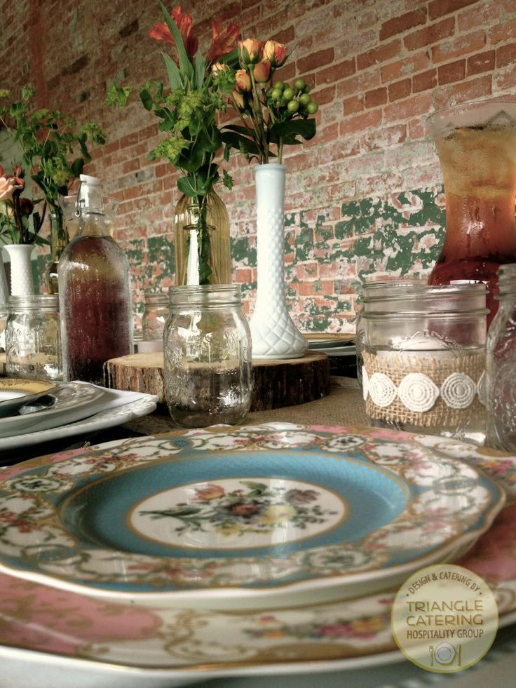 Antique inspired mismatch china make for the perfect pretty little details at Durham wedding venue The Cotton Room