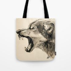 Wolf Snarl Tote Bag