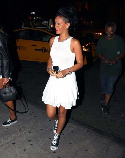 Rihanna wears white dress, converse