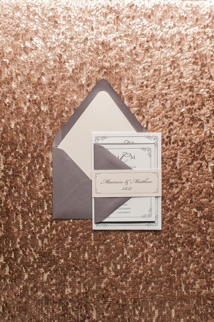 MARIE Suite Romantic Package, blush and grey, letterpress wedding invitations, traditional wedding invitations, formal invitations