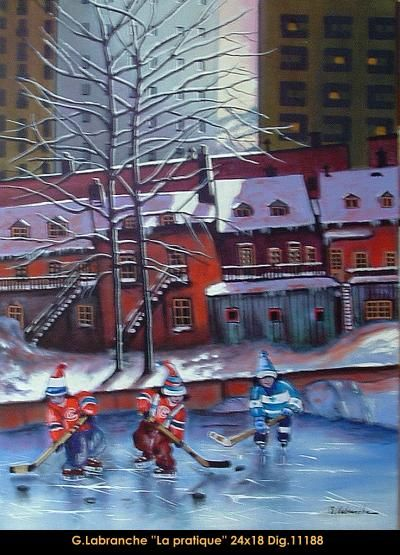 Original acrylic painting on canvas by Gilles Labranche #gilleslabranche #art #artist #canadianartist #quebecartist #winter #hockey #children #playing  #originalpainting #acrylic #balcondart #multiartlte