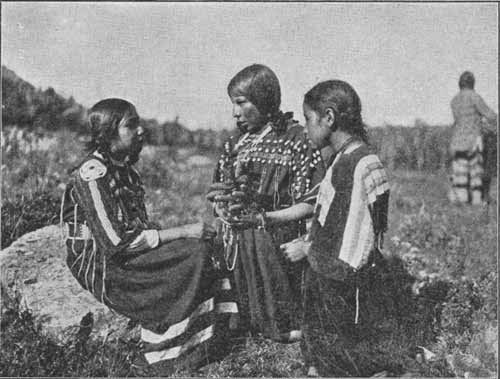 Blackfoot Indian children photographed at the Glacial National Park in Montana. Date unknown