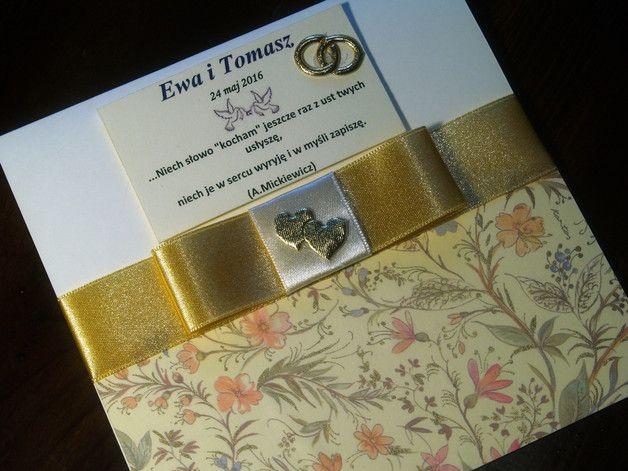 Zaproszenia ślubne ręcznie robione - GoldPaperArt - Zaproszenia ślubne Kartka ślubna - elegancka, ze złotem. - GoldPaperArt - Kartki ślubne #ślub #kartka #ślubna #okolicznościowa #weeding #card #handmade #rękodzieło