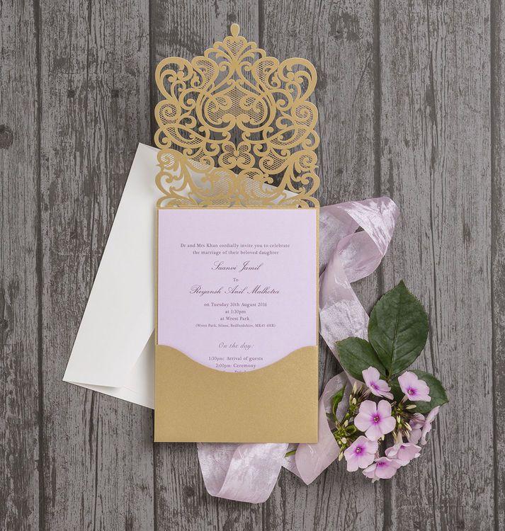 watch wedding invitation movie online eng sub%0A Gold Diamante Laser Cut Pocketfold Personalised Wedding Invitation