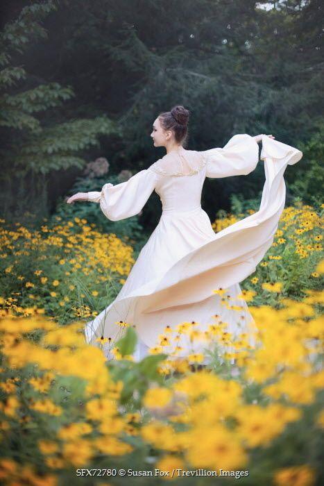 Susan Fox YOUNG HISTORICAL WOMAN DANCING AMONG FLOWERS Women