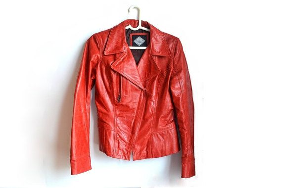 Women's red leather jacket. Nipped-in waist.