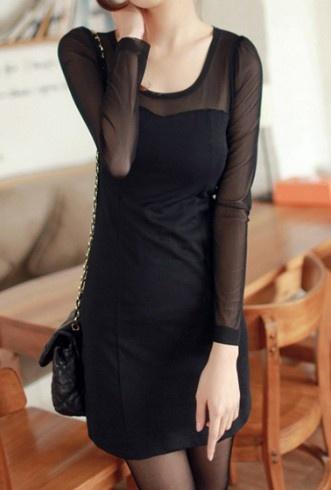 Black Sheer Long Sleeve Short Dress