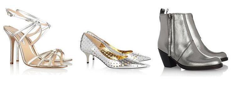 Серебряные туфли на небольшом каблуке