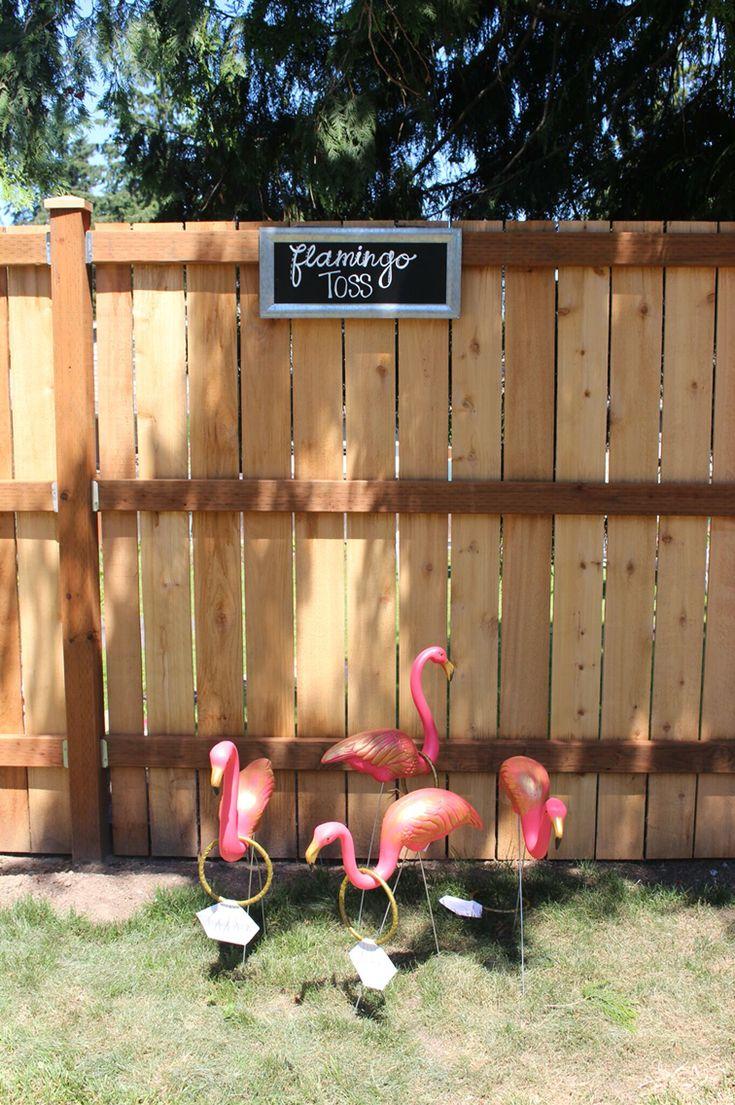 Outdoor bridal shower, flamingo toss                                                                                                                                                                                 More