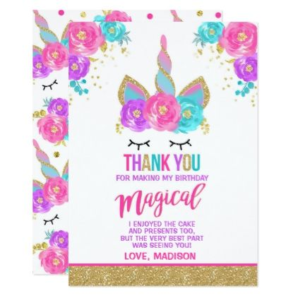 magical unicorn thank you card unicorn party in 2018 birthday