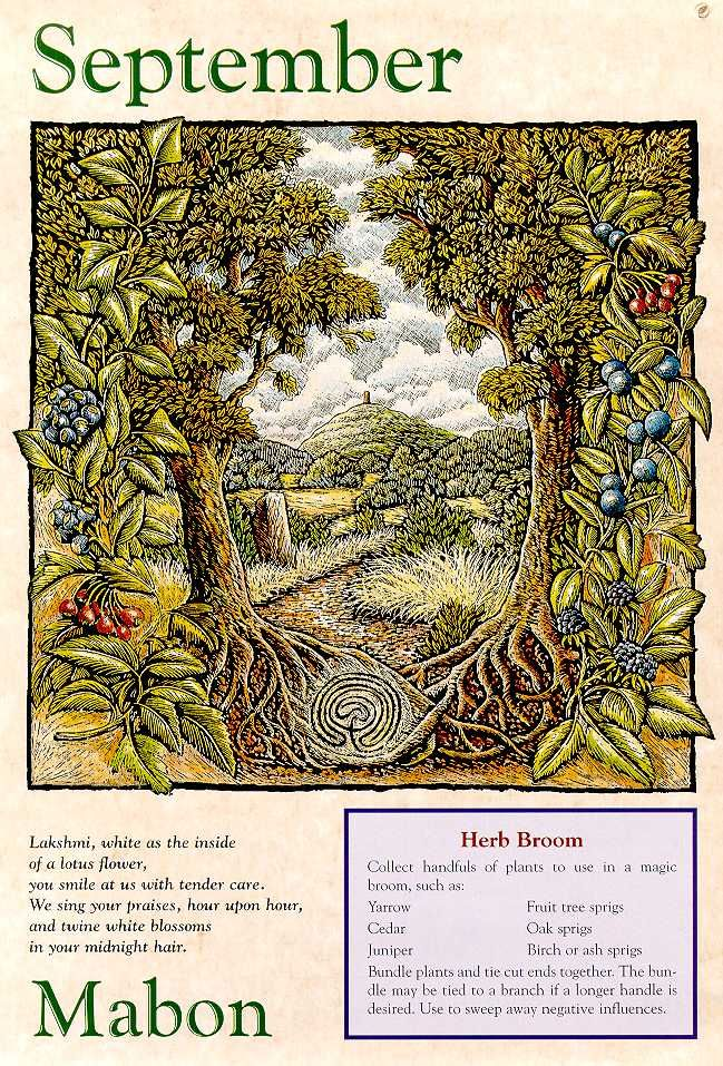 Mabon: The autumn equinox is the completion of the harvest begun at Lammas. Once again the day and night are equal as the God prepares to leave the body and the begin the great adventure into the unseen, toward renewal and rebirth of the Goddess.