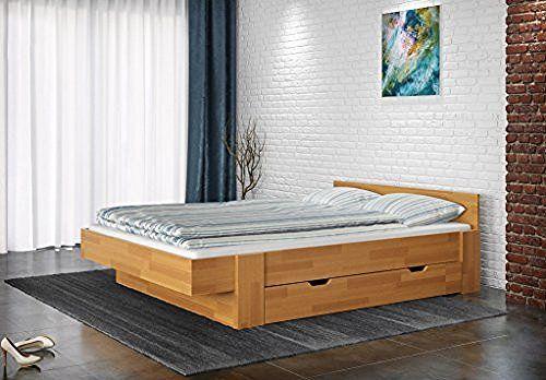 Doppelbett Nadim 3 inkl. 2 Schubladen, Buche Vollholz massiv natur - Liegefläche 180 x 200 cm