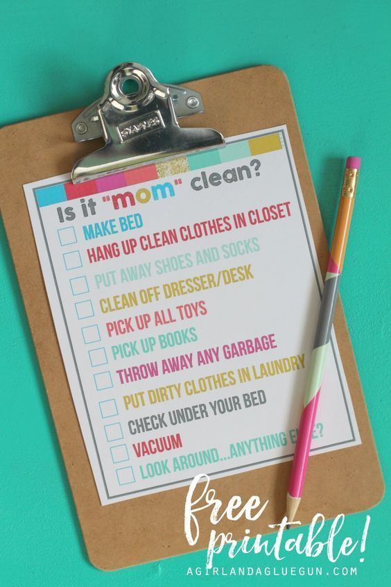 """Cleaning checklist for your little ones, so they can keep their rooms """"mom"""" clean!"""