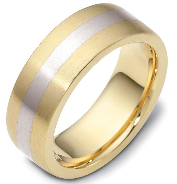New  kt two tone hand made fort fit Wedding Band mm wide The