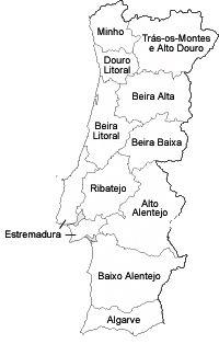 Mapa de Portugal com Províncias