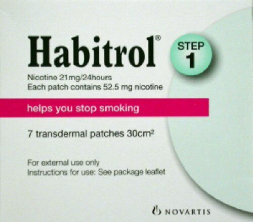 Nicotine Transdermal System Patch Stop Smoking Aid 21 mg, Step 1 - 28 patches by Habitrol. $42.99. Reduces the nicotine cravings that many people normally feel when they quit smoking. 21mg for those who smoke more than 10 cigarettes per day. Quit smoking with the help of Habitrol nicotine patches. Each box contains 7 nicotine patches. You will receive 4 boxes for a total of 28 patches.