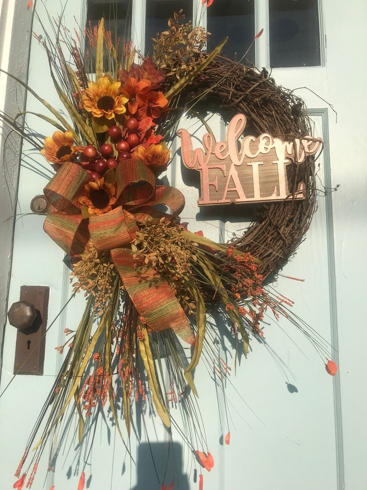 Fall Ivory Sunflower Grapevine Wreath for front door, wreaths, Fall wreath for front door, Summer farmhouse Wreath, Welcome Friends Wreath