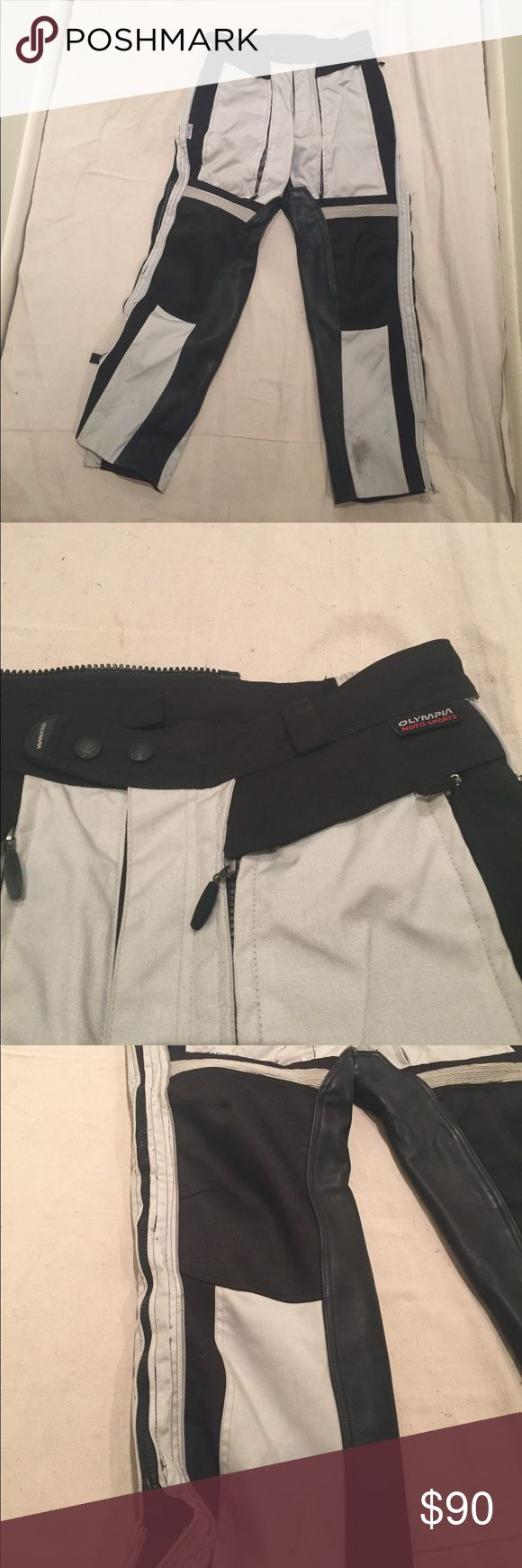Motorcycle Pants | Olympia Moto Sports Olympia Moto Sports motorcycle pants. Great material - still in great condition for safe riding. 3M Scotchlite Reflective Technology. Zippers up the sides and in the front for breathability. Very light gray color. Olympia Moto Sports Pants