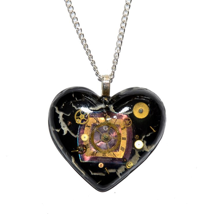 50 x 45mm Dr Who Inspired Steampunk 'Cracks in Time' Heart Necklace. Hand Made in Cornwall, UK by thelongwayround on Etsy