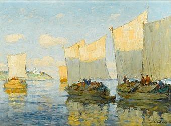 "Konstantin Ivanovich Gorbatov (1876-1945): ""Sailing Boats on the Volga"", 1910"