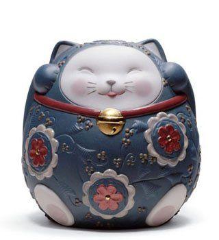 Lladro Porcelain Figurine Maneki Neko II Blue