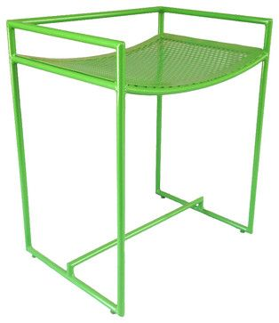 Now looking for a bar stool for the outdoor balcony -- slat wood floor, so can't do four legs. The little stoppers here would be a problem too...
