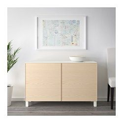 IKEA - BESTÅ, Storage combination with doors, white/Lappviken white, , You can choose to use either the soft-closing or push-open function. The push-opener lets you open the doors with just a light push, while the soft-closing hinges makes sure they close silently and softly.A panel of tempered glass protects the shelf top and gives it a different look.Doors both protect and decorate - choose a door that matches well with your home and storage combination.The legs raise your BESTÅ combin...