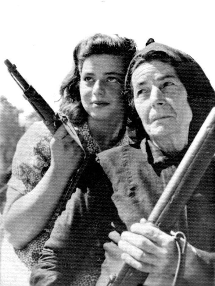 A pair of female Greek partisans on the island of Crete during the German occupation of the island, c. 1943