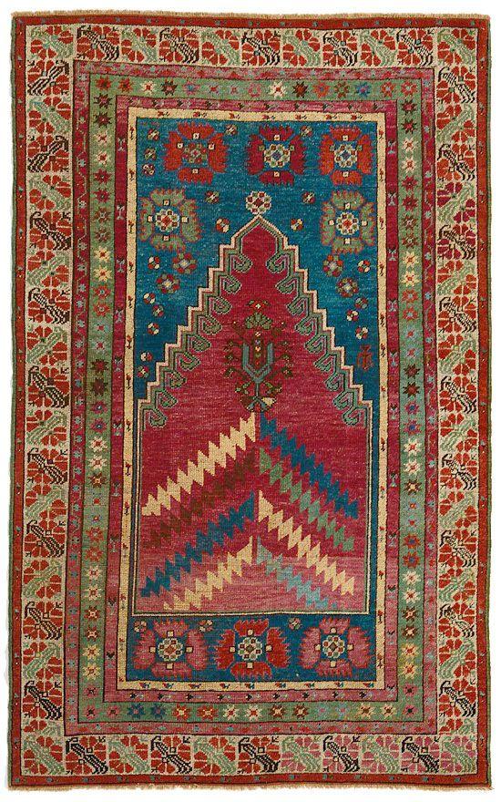 "ANTIQUE KIRSHEHIR RUG  Turkey c1900     1.68m x 1.06m    5' 6"" x 3' 6""  I Robert Stephenson handmade carpets"